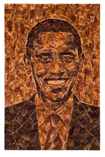 A portrait of President Barack Obama made up by meat, by the artist Jason Mecier.